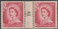NZ Counter Coil Pair SG 730 1953 8d Queen Elizabeth II Join No. 19 (NCC/207)